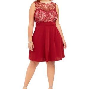 Love Squared Junior's Burgundy Cocktail Dress 1X